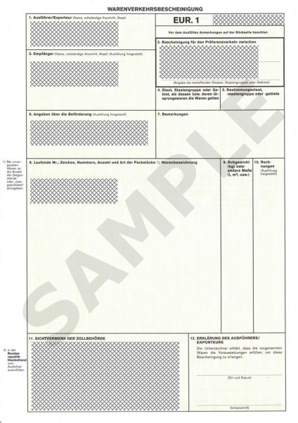Export Document EUR.1